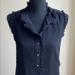 J Crew Natasha top in black silk w ruffle detail